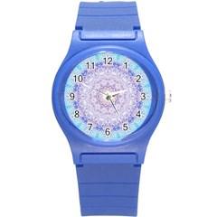 India Mehndi Style Mandala   Cyan Lilac Round Plastic Sport Watch (s) by EDDArt