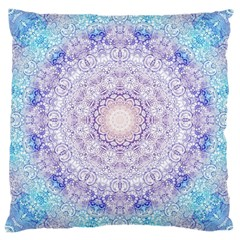 India Mehndi Style Mandala   Cyan Lilac Large Cushion Case (one Side) by EDDArt