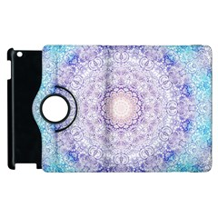 India Mehndi Style Mandala   Cyan Lilac Apple Ipad 2 Flip 360 Case by EDDArt