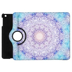India Mehndi Style Mandala   Cyan Lilac Apple Ipad Mini Flip 360 Case by EDDArt