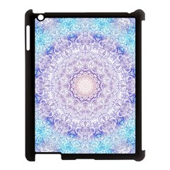 India Mehndi Style Mandala   Cyan Lilac Apple Ipad 3/4 Case (black) by EDDArt