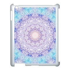 India Mehndi Style Mandala   Cyan Lilac Apple Ipad 3/4 Case (white) by EDDArt