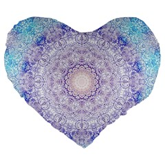 India Mehndi Style Mandala   Cyan Lilac Large 19  Premium Heart Shape Cushions by EDDArt