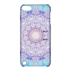 India Mehndi Style Mandala   Cyan Lilac Apple Ipod Touch 5 Hardshell Case With Stand by EDDArt