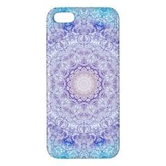 India Mehndi Style Mandala   Cyan Lilac Apple Iphone 5 Premium Hardshell Case by EDDArt