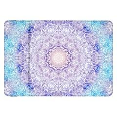 India Mehndi Style Mandala   Cyan Lilac Samsung Galaxy Tab 8 9  P7300 Flip Case by EDDArt