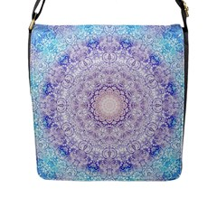 India Mehndi Style Mandala   Cyan Lilac Flap Messenger Bag (l)  by EDDArt