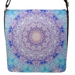 India Mehndi Style Mandala   Cyan Lilac Flap Messenger Bag (s) by EDDArt