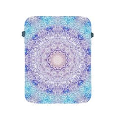 India Mehndi Style Mandala   Cyan Lilac Apple Ipad 2/3/4 Protective Soft Cases by EDDArt
