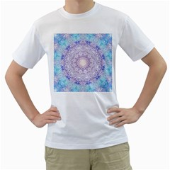 India Mehndi Style Mandala   Cyan Lilac Men s T Shirt (white)  by EDDArt