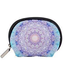 India Mehndi Style Mandala   Cyan Lilac Accessory Pouches (small)  by EDDArt