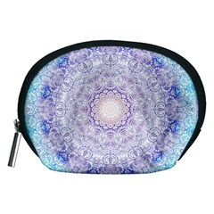 India Mehndi Style Mandala   Cyan Lilac Accessory Pouches (medium)  by EDDArt