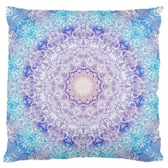India Mehndi Style Mandala   Cyan Lilac Large Flano Cushion Case (one Side) by EDDArt