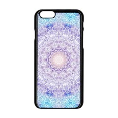 India Mehndi Style Mandala   Cyan Lilac Apple Iphone 6/6s Black Enamel Case by EDDArt