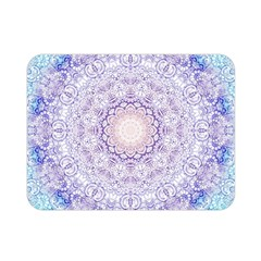 India Mehndi Style Mandala   Cyan Lilac Double Sided Flano Blanket (mini)  by EDDArt