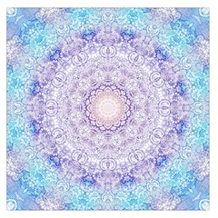 India Mehndi Style Mandala   Cyan Lilac Large Satin Scarf (square) by EDDArt