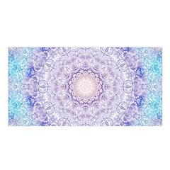 India Mehndi Style Mandala   Cyan Lilac Satin Shawl by EDDArt