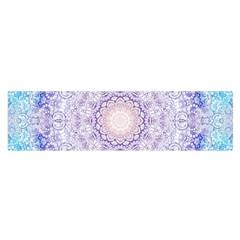 India Mehndi Style Mandala   Cyan Lilac Satin Scarf (oblong) by EDDArt
