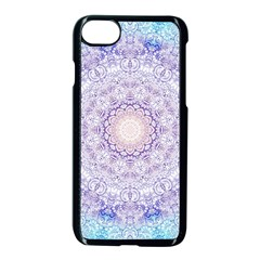 India Mehndi Style Mandala   Cyan Lilac Apple Iphone 7 Seamless Case (black) by EDDArt