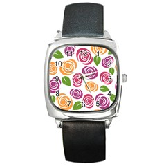 Colorful Seamless Floral Flowers Pattern Wallpaper Background Square Metal Watch by Amaryn4rt