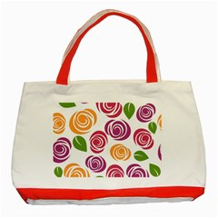 Colorful Seamless Floral Flowers Pattern Wallpaper Background Classic Tote Bag (red) by Amaryn4rt