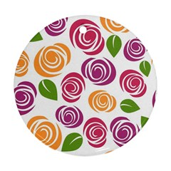 Colorful Seamless Floral Flowers Pattern Wallpaper Background Round Ornament (two Sides) by Amaryn4rt
