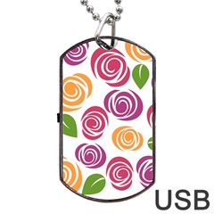 Colorful Seamless Floral Flowers Pattern Wallpaper Background Dog Tag Usb Flash (two Sides) by Amaryn4rt