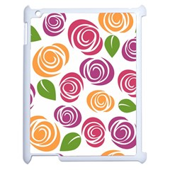 Colorful Seamless Floral Flowers Pattern Wallpaper Background Apple Ipad 2 Case (white) by Amaryn4rt