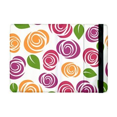 Colorful Seamless Floral Flowers Pattern Wallpaper Background Apple Ipad Mini Flip Case by Amaryn4rt