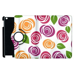 Colorful Seamless Floral Flowers Pattern Wallpaper Background Apple Ipad 2 Flip 360 Case by Amaryn4rt