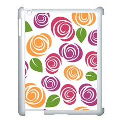 Colorful Seamless Floral Flowers Pattern Wallpaper Background Apple Ipad 3/4 Case (white) by Amaryn4rt