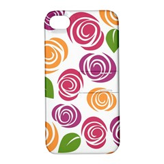 Colorful Seamless Floral Flowers Pattern Wallpaper Background Apple Iphone 4/4s Hardshell Case With Stand by Amaryn4rt