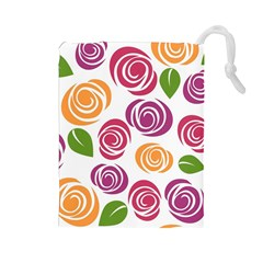 Colorful Seamless Floral Flowers Pattern Wallpaper Background Drawstring Pouches (large)  by Amaryn4rt