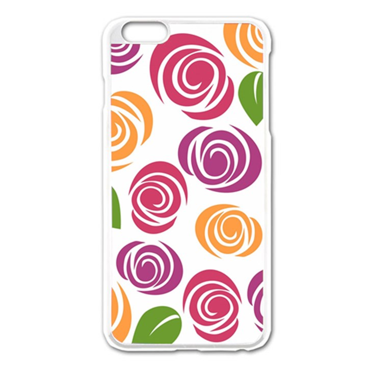 Colorful Seamless Floral Flowers Pattern Wallpaper Background Apple iPhone 6 Plus/6S Plus Enamel White Case
