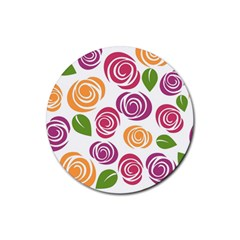 Colorful Seamless Floral Flowers Pattern Wallpaper Background Rubber Coaster (round)  by Amaryn4rt