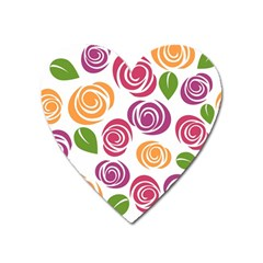 Colorful Seamless Floral Flowers Pattern Wallpaper Background Heart Magnet by Amaryn4rt