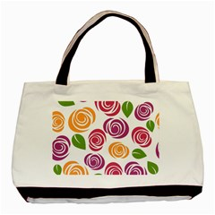 Colorful Seamless Floral Flowers Pattern Wallpaper Background Basic Tote Bag (two Sides) by Amaryn4rt