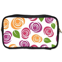 Colorful Seamless Floral Flowers Pattern Wallpaper Background Toiletries Bags by Amaryn4rt