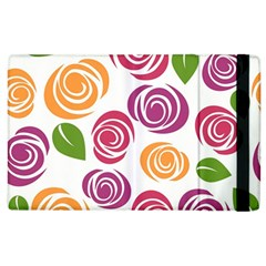 Colorful Seamless Floral Flowers Pattern Wallpaper Background Apple Ipad 2 Flip Case by Amaryn4rt