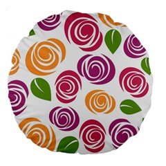 Colorful Seamless Floral Flowers Pattern Wallpaper Background Large 18  Premium Round Cushions by Amaryn4rt