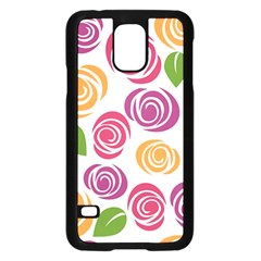 Colorful Seamless Floral Flowers Pattern Wallpaper Background Samsung Galaxy S5 Case (black) by Amaryn4rt