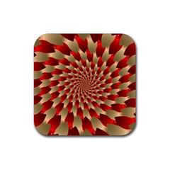 Fractal Red Petal Spiral Rubber Square Coaster (4 Pack)  by Amaryn4rt