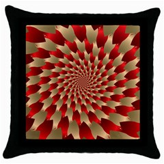 Fractal Red Petal Spiral Throw Pillow Case (black) by Amaryn4rt