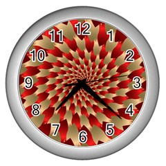 Fractal Red Petal Spiral Wall Clocks (silver)  by Amaryn4rt