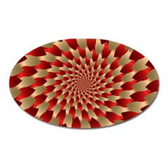 Fractal Red Petal Spiral Oval Magnet by Amaryn4rt