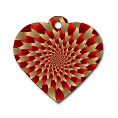 Fractal Red Petal Spiral Dog Tag Heart (two Sides) by Amaryn4rt