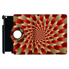 Fractal Red Petal Spiral Apple Ipad 3/4 Flip 360 Case by Amaryn4rt