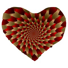 Fractal Red Petal Spiral Large 19  Premium Heart Shape Cushions by Amaryn4rt