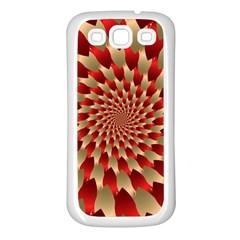 Fractal Red Petal Spiral Samsung Galaxy S3 Back Case (white) by Amaryn4rt