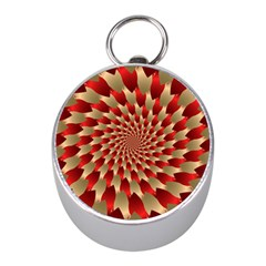 Fractal Red Petal Spiral Mini Silver Compasses by Amaryn4rt